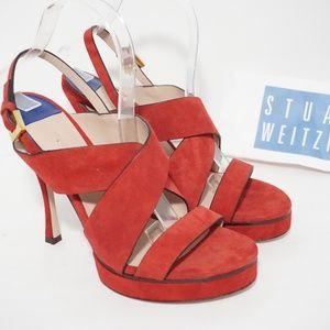 🆕Stuart Weitzman Crisscross Platform Sandal Red